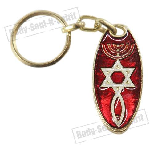 Body-soul-n-spirit - décoration murale Étoile de David & Menorah Porte-clés Rouge amulette Porte Bonheur Cadeau spécial