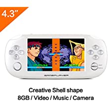 Image of 8GB Handheld Game Console 4.3 Inch Mp4 Player Video Game Console Built hundreds of games Support GBA/GBC /GB/SFC/FC/SEGA/SMC Games and Ebook Camera Recording (GM01047WhiteUK) - Comparsion Tool