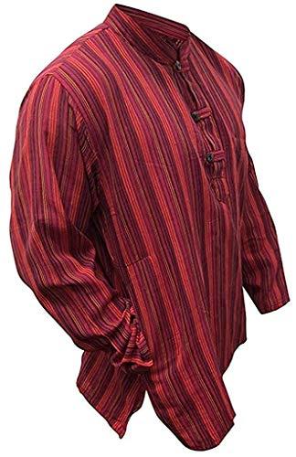 Maroon Loose Fit Shirt (Multi Farben Mix dharke Streifen leicht bequem langärmlig traditionell Großvater Shirt, Hippy Boho , S M L XL XXL XXXL - maroon mix, XXXX-Large)