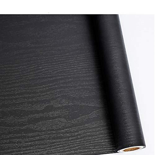 Schwarze Holz-tür (Holz Folie Selbstklebend,Schwarz Holz Folie für Möbel,Tisch,Tür, Bordüren 45 cm × 200 cm Wasserdicht, leicht zu reinigen Vinyl Dekorfolie Black Klebefolie Holzoptik)