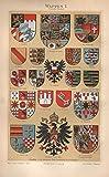 Wappen I; Baden, Oldenburg, Hessen, Königr. Sachsen u.a. - Antiquarische Lithografie (Sammlerstück) von 1897