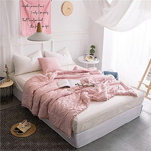 Pink Pompon Sommer Quilt–memorecool Haustierhaus Klimaanlage Raum 100% Baumwolle gewaschen Tröster Healthy Home Textiles Twin, baumwolle, rose, Volle Größe