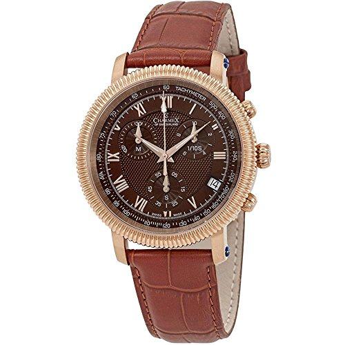 Charmex Men's President II 42mm Brown Leather Band Quartz Analog Watch 2989
