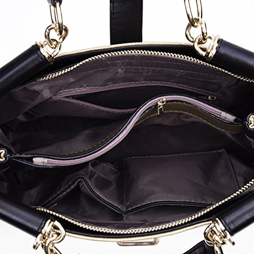 Longzibog Dual verstellbare Schultergurte und Hängeschlaufenband Mode Simple Style Fashion Tote Top Handle Schulter Umhängetasche Satchel Weiß