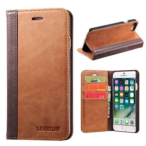 LENSUN iPhone 8 Hülle iPhone 7 Hülle, Handyhülle Handytasche iPhone 8/7 (4.7 Zoll) Leder Huelle Tasche Flip Case Ledertasche Schutzhülle - Braun (7G-FG-BN) -