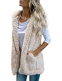 Sonnena Womens chaleco invierno cálido sudadera con capucha Outwear piel sintética de perchero de pared de Casual con cremallera Sherpa chaqueta beige beige extra-Large