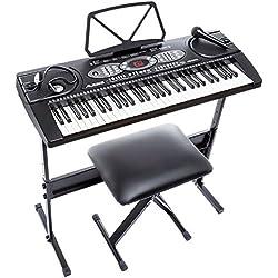 Alesis Piano Melody 61 - Teclado electrónico de 61 teclas con altavoces incorporados, auriculares, stand y micrófono