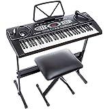 Alesis Melody 61 - Teclado electrónico de 61 teclas con altavoces incorporados, auriculares, stand y micrófono