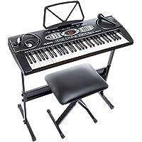 Alesis Melody 61 - Teclado electrónico de 61 teclas con altavoces incorporados, auriculares, soporte, banqueta y micrófono