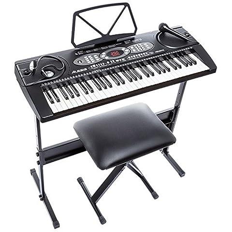 Alesis Melody 61 Piano Numérique 61 Touches Portable avec Haut-Parleurs Intégrés et 200 Sons – Inclus Microphone, Casque Audio, Pupitre, Support et Banquette