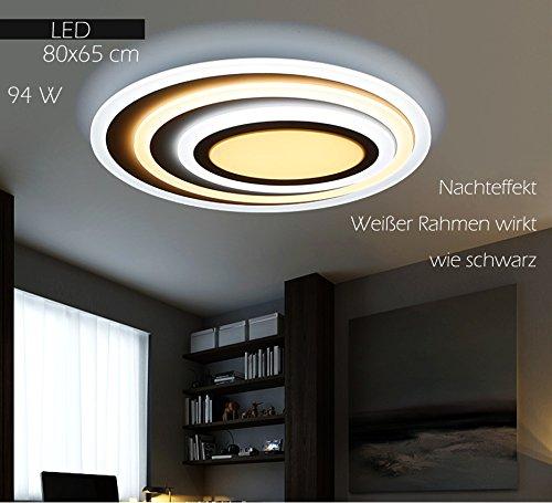 Euroton LED Deckenleuchte XW092 WJ mit Fernbedienung Lichtfarbe/Helligkeit einstellbar Acryl-Schirm weiß lackierter Metallrahmen individuelles Design Energieeffizienzklasse: A+