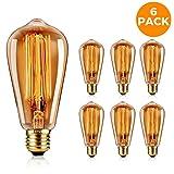 GoodsBros 6er Pack Vintage Edison Glühbirne E27 Glühlampe 40W/220V Antike Retro Glühbirne Warmweiß Squirrel Cage Amber Glas ST58 mit RoHS Zertifizierung
