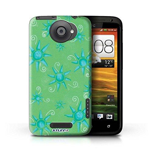 Kobalt® Imprimé Etui / Coque pour HTC One X / Vert/Bleu conception / Série Motif Soleil Vert/Bleu