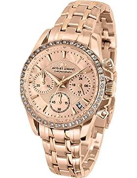 Jacques Lemans Damen-Armbanduhr Liverpool Analog Quarz Edelstahl beschichtet 1-1724E