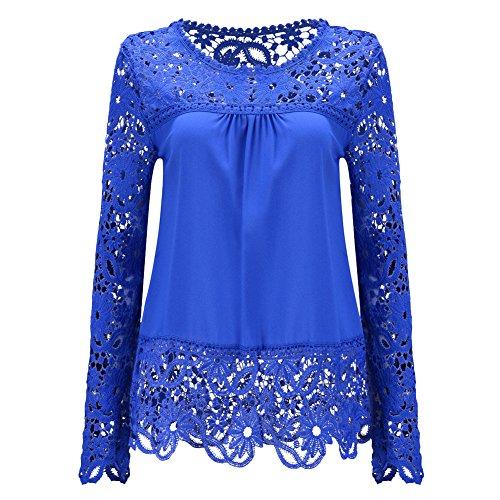 Donna Maglietta a Manica Lunga Girocollo Pizzo Camicetta T-shirt Tops Blu marino