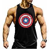 Kecko Men Cotton Herren Tank Top Stringer Fitness Gym Shirt American Captain T-Shirt Weste Muscleshirt Print Sport Vest (M, Schwarz)