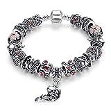 YIYIYYA Armband Für Frauen Armband Tibet Silber Glas Für Frauen Mode Schmuck Im Europäischen Stil, 21 cm
