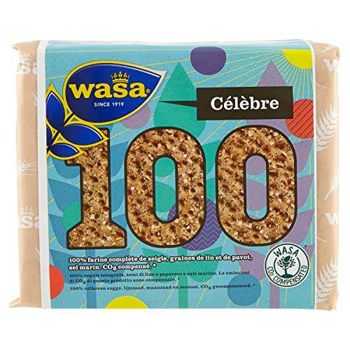 Wasa 100, Fette Croccanti con 100% segale integrale, semi di lino e papavero e sale marino, 245g