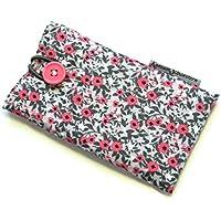 Handytasche aus Stoff - BLÜMCHEN PINK GRAU - mit Knopf für SAMSUNG Galaxy S9 , S8 , S7 edge , A8 , A6 und J7 - gepolsterte Handyhülle - Hülle für Smartphone - Handy-Tasche / Handy-Hülle - Geschenk Weihnachten Geburtstag Muttertag Ostern - Baumwolle - cotton case / sleeve / cover