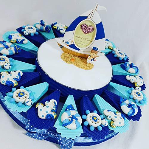 Torta bomboniera portaconfetti battesimo nascita maschietto con confetti crispo kkk (torta marinaio magneti)