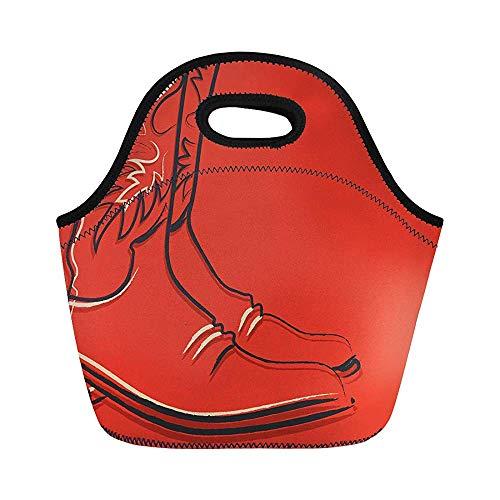 Western-Cowboy-Stiefel auf rotem Old West American Graphic Isolierte Neopren-Lunchtasche für Frauen für Arbeit, Erwachsene, Herren, Kinder, Picknick, Lunchbox