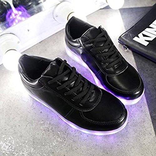 (Présents:petite serviette)JUNGLEST® Femmes Chaussures Athletiques Baskets a Fluorescence Lumineux Lumier Noir