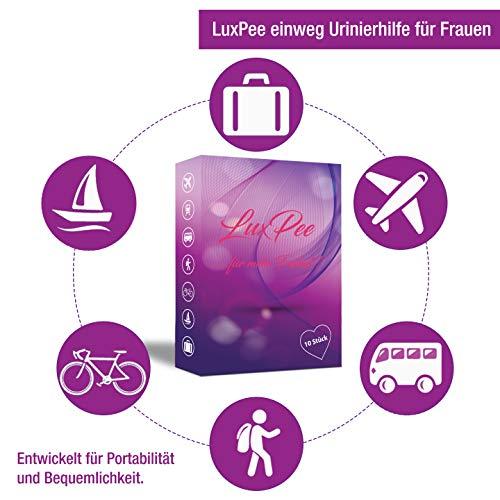 LUXPEE Urinierhilfe – 10 Stück – Einweg Frauen-Urinal aus Pappe für mehr Freiheit unterwegs – Einfach im stehen pinkeln