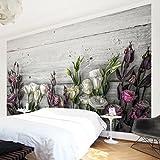 Bilderwelten, hochwertige Fototapete, Rosendesign, XXL-Wandbild im Querformat, Wandschmuck in 3D-Optik, für Schlafzimmer, Wohnzimmer, Vliestapete, Maße (H x B): 255 x 384cm; Motiv:Tulpe, Pink, Shabby Holz-Optik