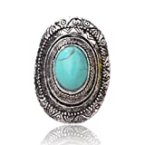 Oval Mode Erklaerung Tibetische Silber Echt Tuerkis Finger Einstellbar Ring