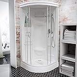 Wellnessdusche Schulte Fertigdusche Komplettdusche Duschtempel 92×92 cm Runddusche Glas weiß Helgoland, 1 Stück - 2