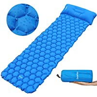 Deeplee Camping Mat, Inflatable Sleeping Mat with Pillow,Ultralight Sleeping Pad for Backpacking,Camping,Hiking,Blue &Green