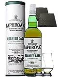 Laphroaig Quarter Cask Islay Single Malt Whisky 0,7 Liter + 2 Glencairn Gläser + 2 Schieferuntersetzer quadratisch ca. 9,5 cm