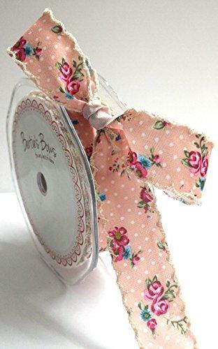 Bertie's Bows - Nastro con motivo a pois e fiori, bordo in pizzo avorio, spessore 25 mm, colore: Rosa (da tagliare sul rocchetto)