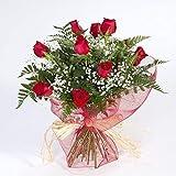 Precioso ramo de 12 rosas rojas de primera calidad. El ramo esta formado por 12 rosas rojas, verdes y paniculata. Un ramo único para regalar en cualquier ocasión.