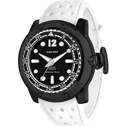 Glam Rock Men's Miami Beach 50mm White Silicone Band Polycarbonate Case Quartz Black Dial Watch GR20026
