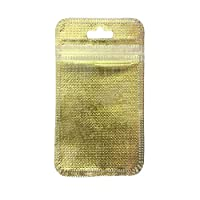 SITAKE 200Pcs Flat Ziplock Bag Front Clear Plastic Valve Zipper Pouches Resealable Treat Bags Self-Sealing 7.5cmx14cm (2.95 in x 5.51 in)(Gold)
