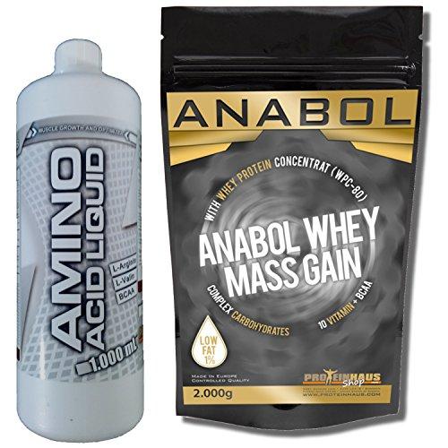 Früher Aminosäuren (ANABOL WHEY MASS GAIN 2KG/ 2000g Himbeere +1 Liter Amino Liquid Flüßige Aminosäure, ZERO FAT für den Muskelaufbau / Weight Gainer)