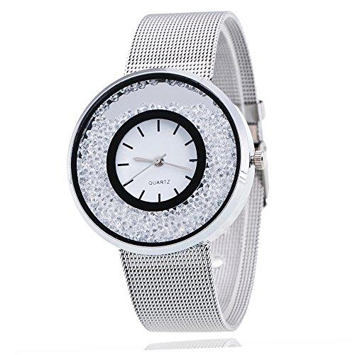 Mode Damenuhr, Paticess Treibsand Armbanduhr Strass Zifferblatt Milanaise Armband Analoge Quartz Uhren für Frauen