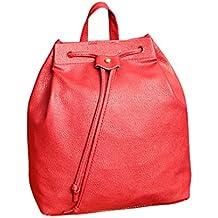 Mochila, Manadlian Bolsa de cubo de mujer MochilaCordón de la moda Bolsa de viaje Satchel School Bag (25cm*12cm*27cm, Rojo)