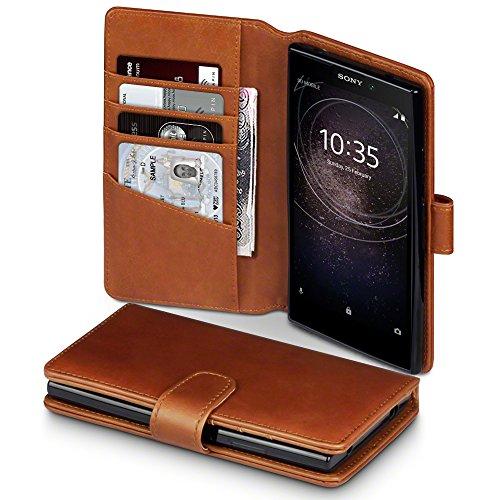 Terrapin, Kompatibel mit Sony Xperia L2 Hülle, [ECHT LEDER] Brieftasche Case Tasche mit Standfunktion Kartenfächer und Bargeld - Cognac EINWEG