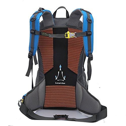 Cuckoo 35L Escursione Daypack Borsa backpacking impermeabile Zaino sportivo esterno per arrampicata Alpinismo Campeggio Pesca Viaggi Ciclismo Sci con coperchio di pioggia, giallo blu