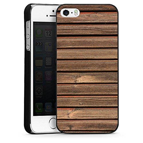 Apple iPhone 4 Housse Étui Silicone Coque Protection Look bois Lattes de bois Planches CasDur noir