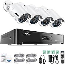 SANNCE Kit de 4 Cámaras de Vigilancia Seguridad 1080P 4CH CCTV NVR P2P y 4 Camaras