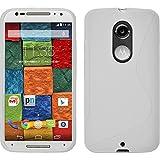 PhoneNatic Case für Motorola Moto X 2014 2. Gen. Hülle Silikon weiß, S-Style + 2 Schutzfolien