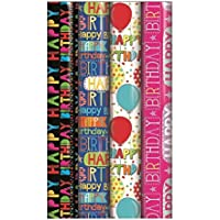 Amazon gift wrapping paper 4 x rolls of gift wrap wrapping paper 3m x 70cm happy birthday script unisex negle Gallery