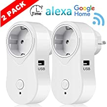 Enchufe Inteligente Inalámbrico - FAGORY WiFi Enchufes Alexa con USB Pared, Compatibles con Amazon Alexa Echo & Google Home, Minutero, Control Remoto Interruptor Wi-Fi Domótica, APP para Android iOS (2-Pack)