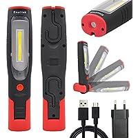 Lampara Linterna de Trabajo de COB LED 3W y 3W LED Recargable Portatil Muy Potente con Imanes Potentes y Dos Ganchos Bateria de Litio 2200mAh de Enuotek