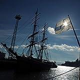 VERO HOME 10516 by TobiasBecker Fortbewegung - Segelschiff im Hafen, Premium-Druck auf 60 x 60 Birkenholz