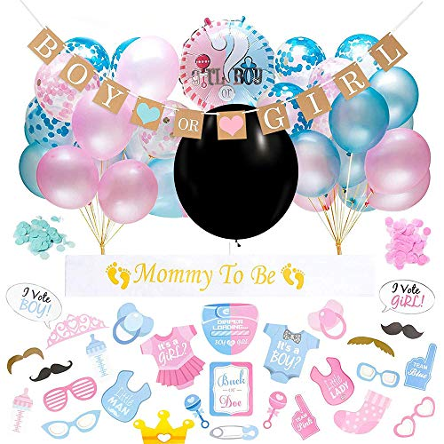 Einfach Zu Kostüm Montieren - Gender Reveal Party Dekoration, 64 Stück Gender Reveal Party Supplies Kit Für Babyparty-Geburtstagsfeier - Einschließlich Banner Und Ballonsets, Kostüm Verkleiden Usw
