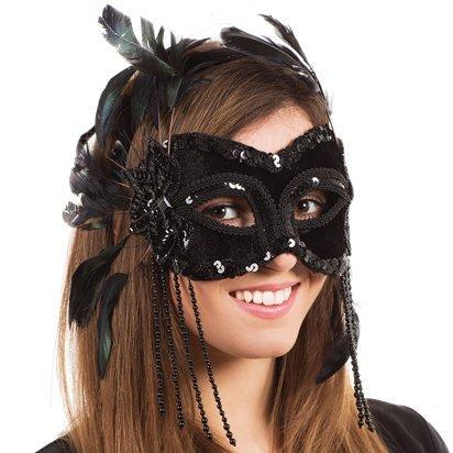 Black Velvet Masquerade Maske mit Federn - Adult Silvester Weihnachtsmaske - One Size (Velvet Ballon-)